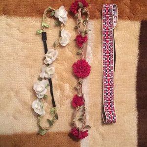 3 Flower crown elastic headbands